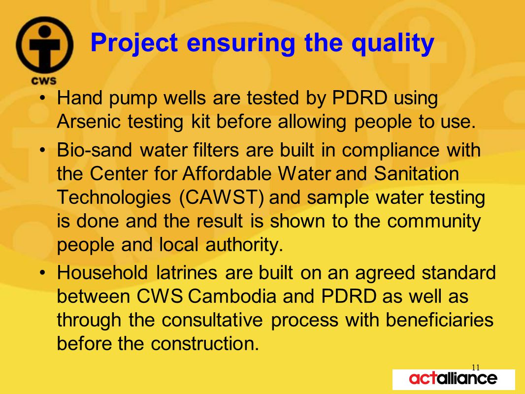 Project ensuring the quality Hand pump wells are tested by PDRD using Arsenic testing kit before allowing people to use.