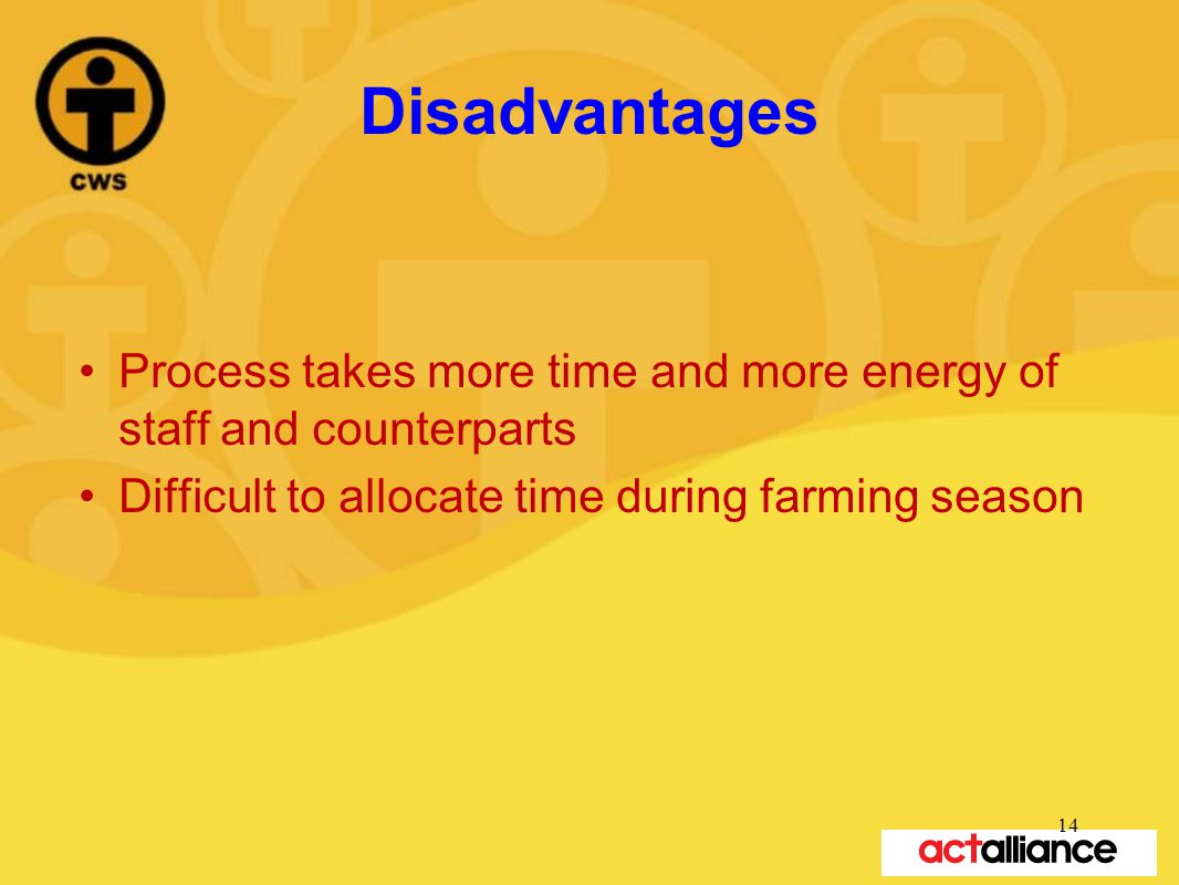 Disadvantages Process takes more time and more energy of staff and counterparts Difficult to allocate time during farming season 14