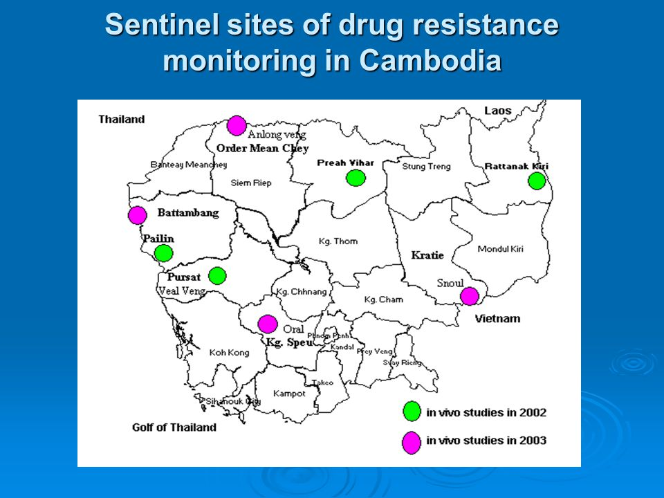 Sentinel sites of drug resistance monitoring in Cambodia