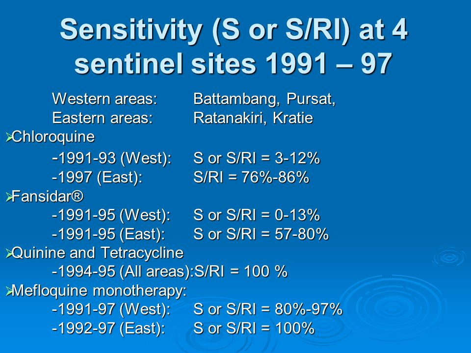 Sensitivity (S or S/RI) at 4 sentinel sites 1991 – 97 Western areas: Battambang, Pursat, Eastern areas:Ratanakiri, Kratie  Chloroquine - 1991-93 (West): S or S/RI = 3-12% -1997 (East): S/RI = 76%-86%  Fansidar® -1991-95 (West): S or S/RI = 0-13% -1991-95 (East): S or S/RI = 57-80%  Quinine and Tetracycline -1994-95 (All areas):S/RI = 100 %  Mefloquine monotherapy: -1991-97 (West): S or S/RI = 80%-97% -1992-97 (East): S or S/RI = 100%