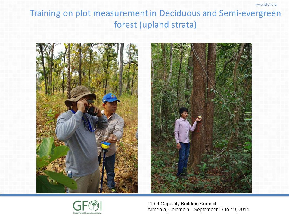 www.gfoi.org GFOI Capacity Building Summit Armenia, Colombia – September 17 to 19, 2014 Training on plot measurement in Deciduous and Semi-evergreen f