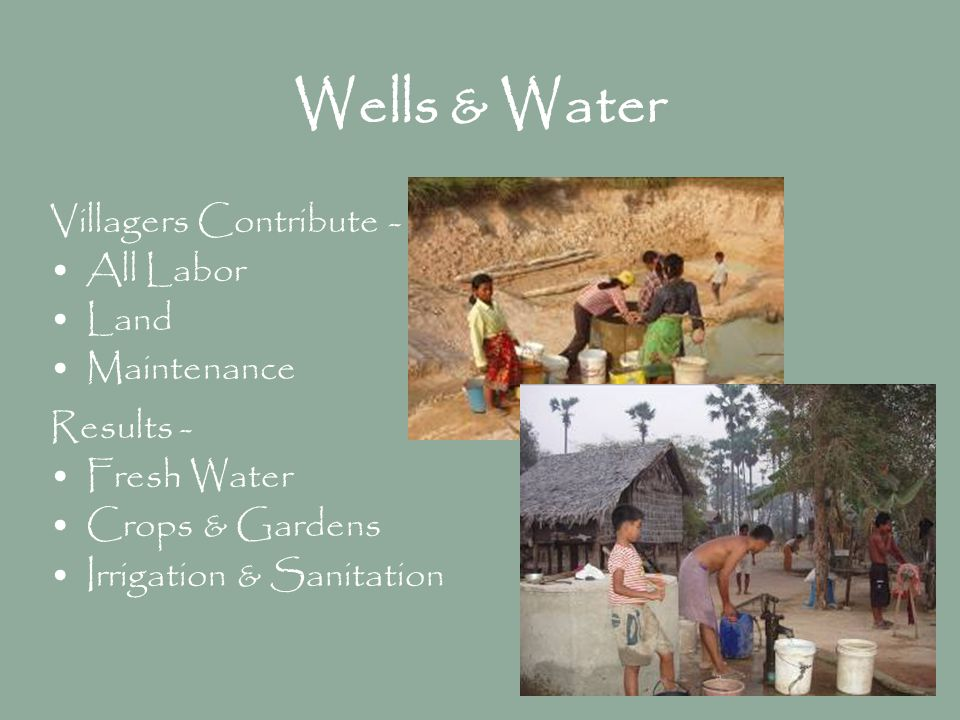 Wells & Water Villagers Contribute - All Labor Land Maintenance Results - Fresh Water Crops & Gardens Irrigation & Sanitation