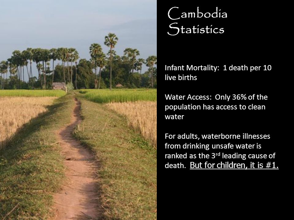 Cambodia Statistics Infant Mortality: 1 death per 10 live births Water Access: Only 36% of the population has access to clean water For adults, waterborne illnesses from drinking unsafe water is ranked as the 3 rd leading cause of death.