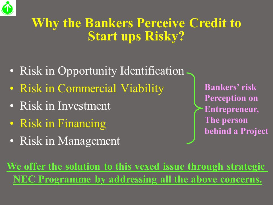 Risk in Opportunity Identification Risk in Commercial Viability Risk in Investment Risk in Financing Risk in Management Why the Bankers Perceive Credi