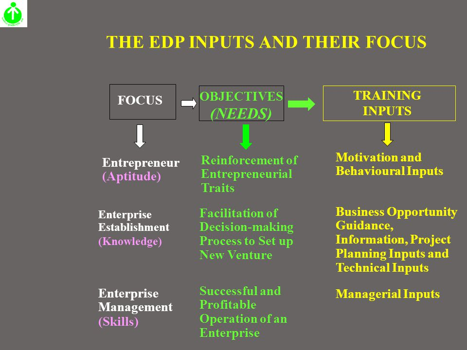 THE EDP INPUTS AND THEIR FOCUS FOCUS OBJECTIVES (NEEDS) Entrepreneur (Aptitude) Motivation and Behavioural Inputs Reinforcement of Entrepreneurial Tra