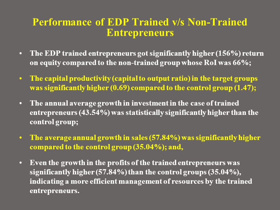 Performance of EDP Trained v/s Non-Trained Entrepreneurs The EDP trained entrepreneurs got significantly higher (156%) return on equity compared to the non-trained group whose RoI was 66%; The capital productivity (capital to output ratio) in the target groups was significantly higher (0.69) compared to the control group (1.47); The annual average growth in investment in the case of trained entrepreneurs (43.54%) was statistically significantly higher than the control group; The average annual growth in sales (57.84%) was significantly higher compared to the control group (35.04%); and, Even the growth in the profits of the trained entrepreneurs was significantly higher (57.84%) than the control groups (35.04%), indicating a more efficient management of resources by the trained entrepreneurs.