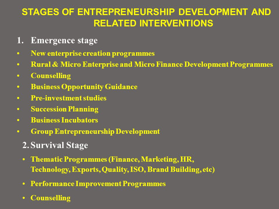 STAGES OF ENTREPRENEURSHIP DEVELOPMENT AND RELATED INTERVENTIONS 1.Emergence stage New enterprise creation programmes Rural & Micro Enterprise and Micro Finance Development Programmes Counselling Business Opportunity Guidance Pre-investment studies Succession Planning Business Incubators Group Entrepreneurship Development 2.Survival Stage Thematic Programmes (Finance, Marketing, HR, Technology, Exports, Quality, ISO, Brand Building, etc) Performance Improvement Programmes Counselling