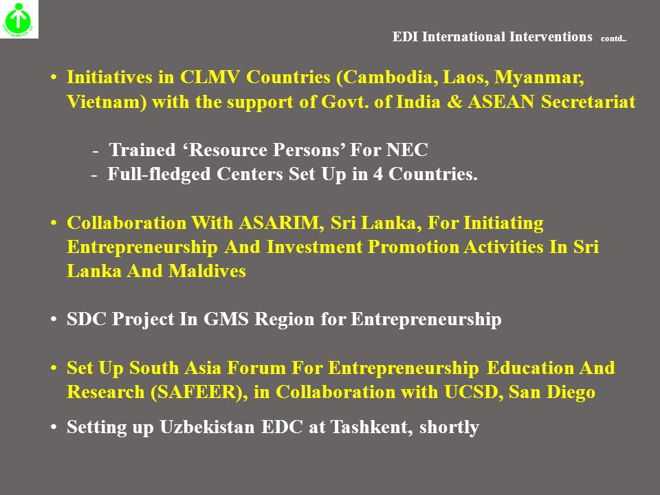 EDI International Interventions contd..