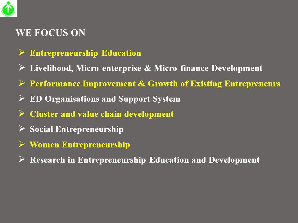  Entrepreneurship Education  Livelihood, Micro-enterprise & Micro-finance Development  Performance Improvement & Growth of Existing Entrepreneurs 