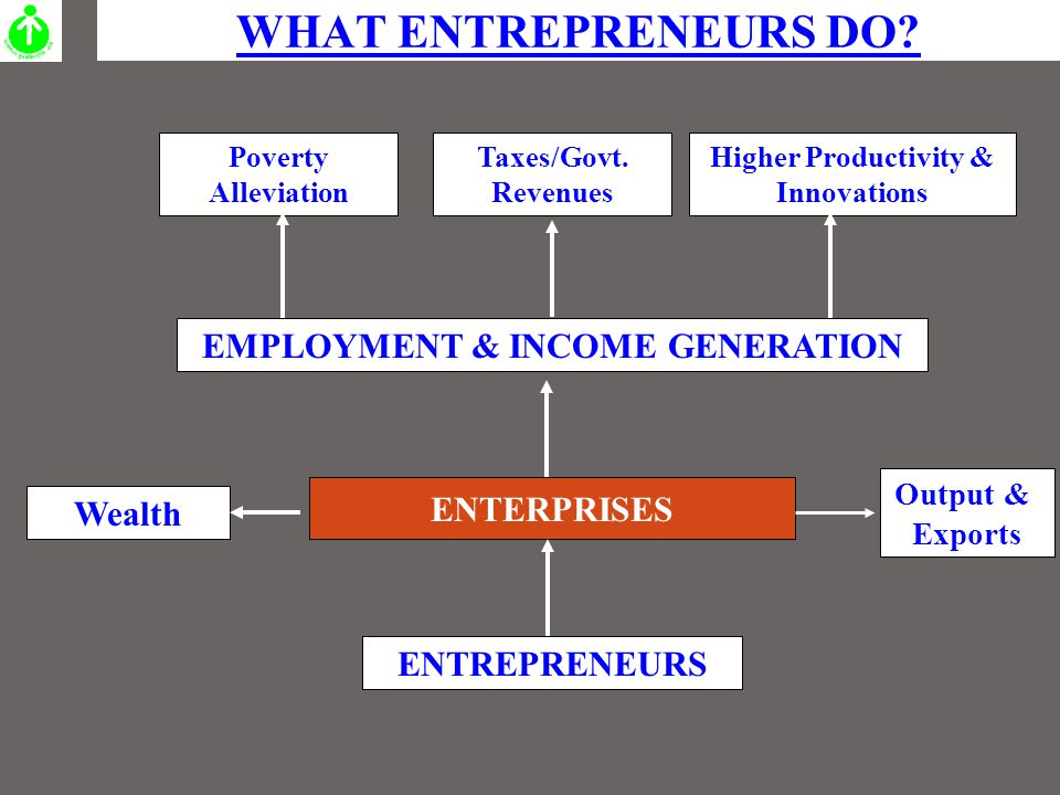WHAT ENTREPRENEURS DO.EMPLOYMENT & INCOME GENERATION ENTERPRISES ENTREPRENEURS Taxes/Govt.