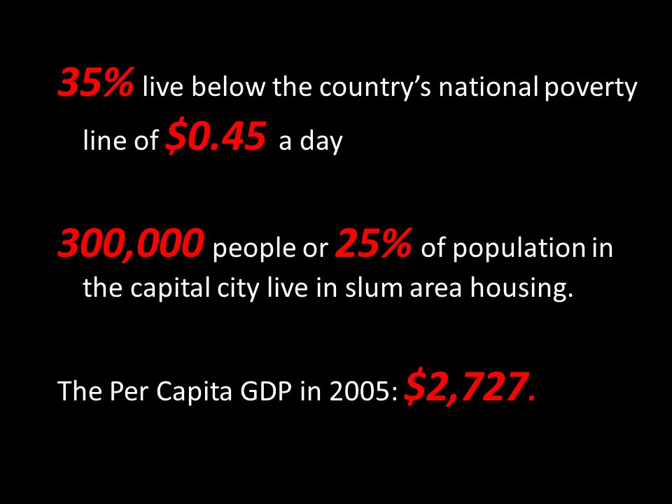 35% live below the country's national poverty line of $0.45 a day 300,000 people or 25% of population in the capital city live in slum area housing. T