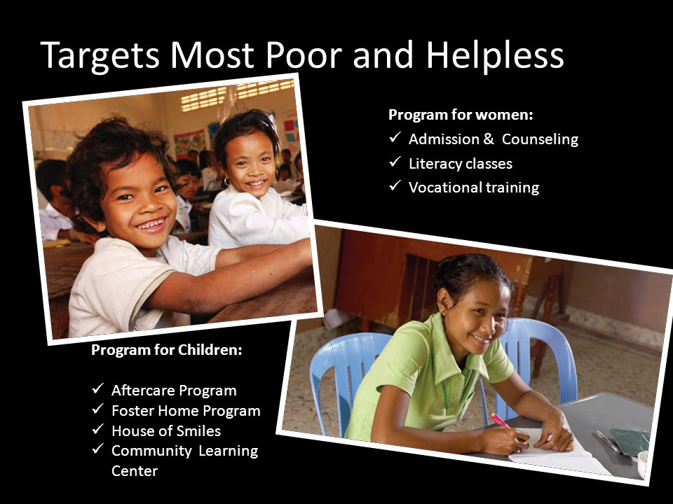 Targets Most Poor and Helpless Program for women: Admission & Counseling Literacy classes Vocational training Program for Children: Aftercare Program Foster Home Program House of Smiles Community Learning Center