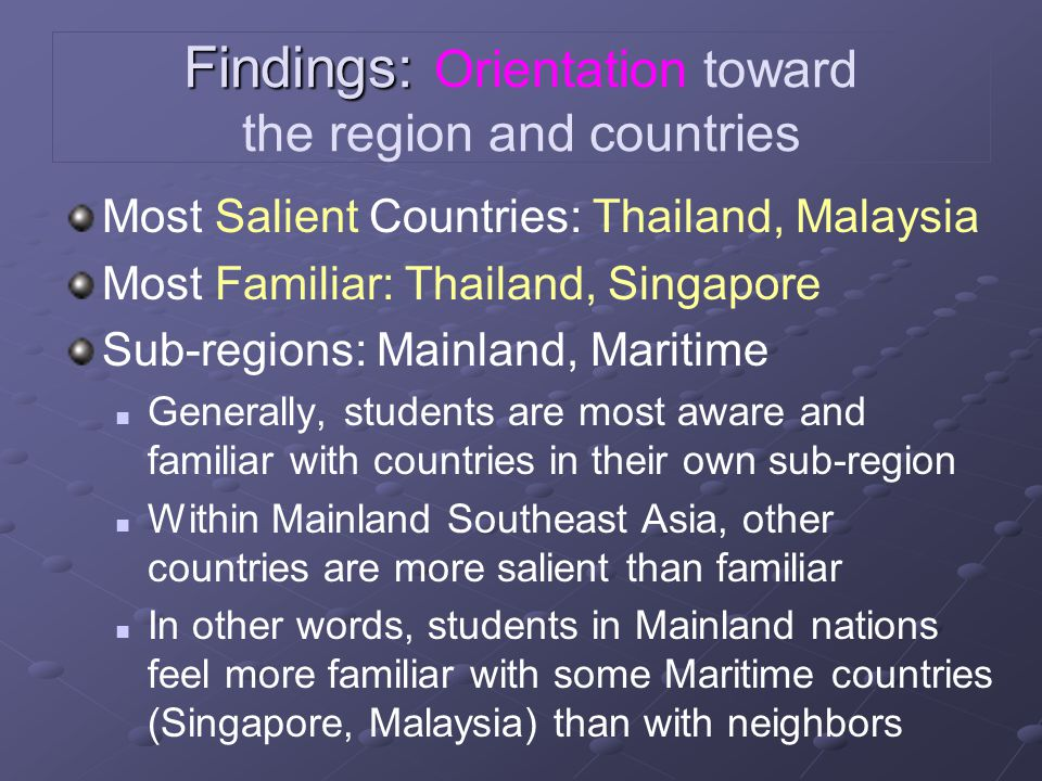 Findings: Findings: Orientation toward the region and countries Most Salient Countries: Thailand, Malaysia Most Familiar: Thailand, Singapore Sub-regi