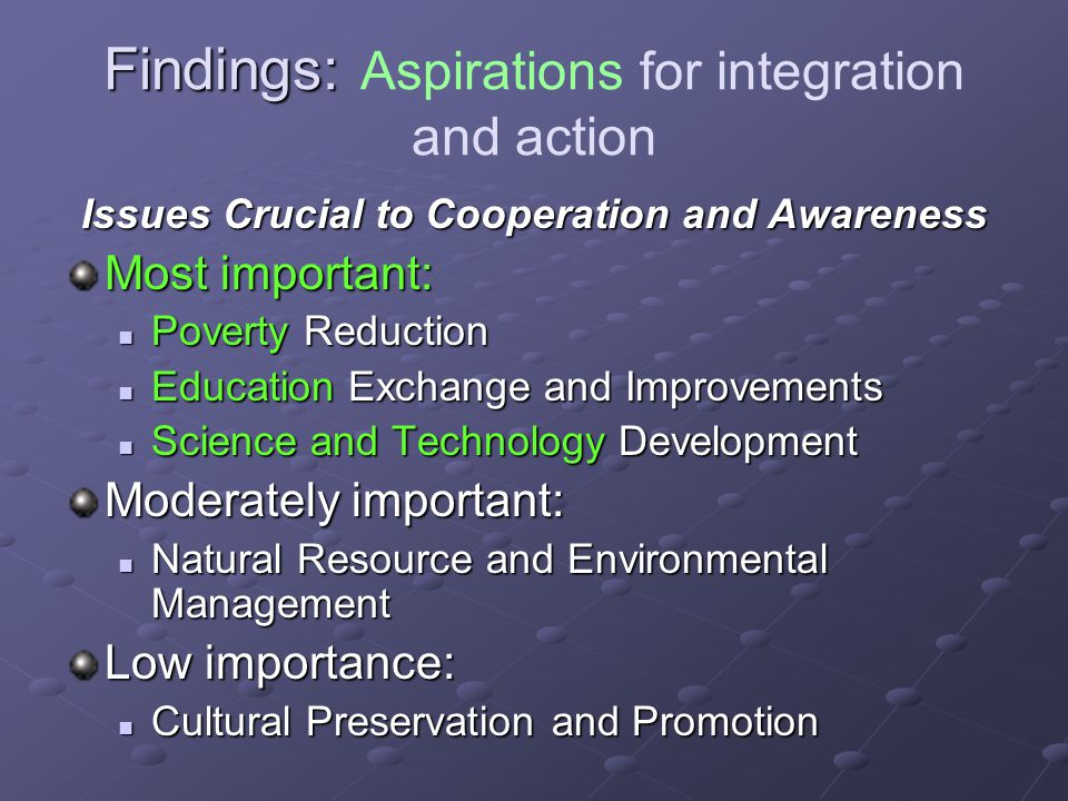 Findings: Findings: Aspirations for integration and action Issues Crucial to Cooperation and Awareness Most important: Poverty Reduction Poverty Reduc