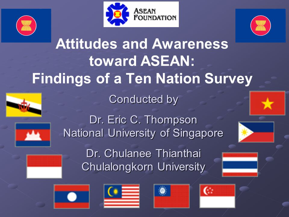 Attitudes and Awareness toward ASEAN: Findings of a Ten Nation Survey Conducted by Dr. Eric C. Thompson National University of Singapore Dr. Chulanee
