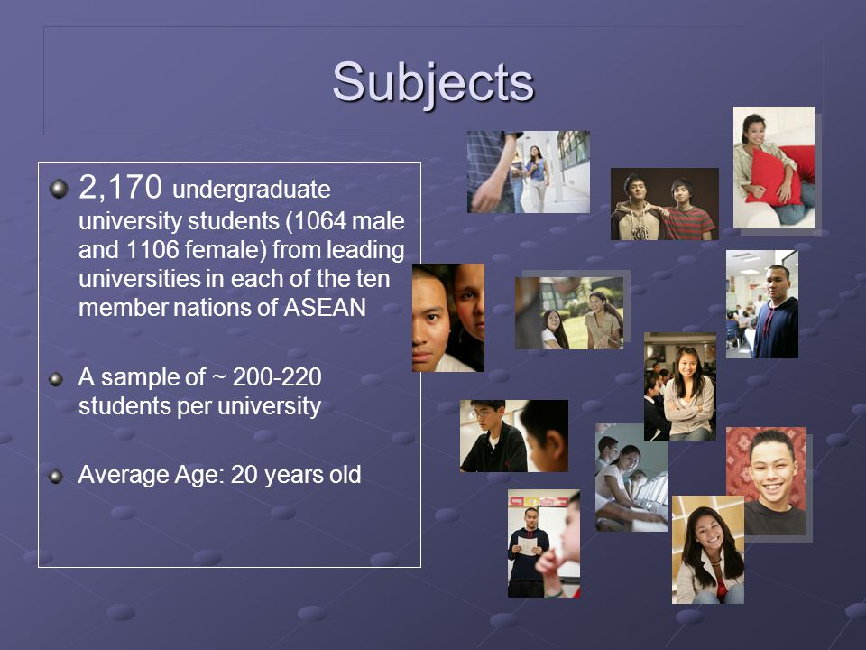 Subjects 2,170 undergraduate university students (1064 male and 1106 female) from leading universities in each of the ten member nations of ASEAN A sa