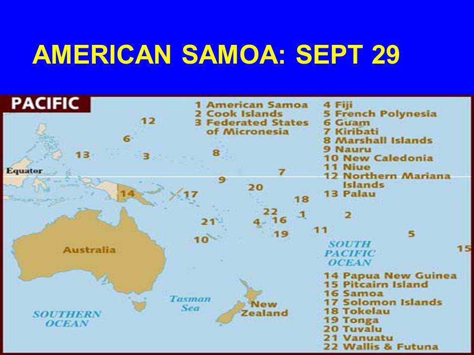AMERICAN SAMOA: SEPT 29