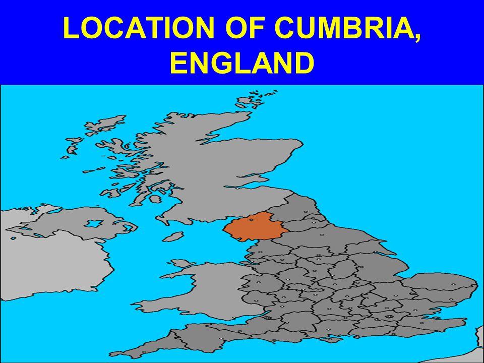 LOCATION OF CUMBRIA, ENGLAND