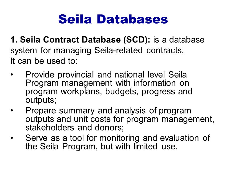 Seila Databases 1.