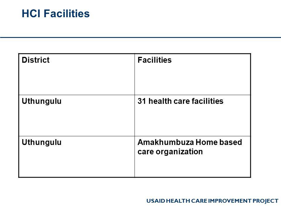 USAID HEALTH CARE IMPROVEMENT PROJECT HCI Facilities DistrictFacilities Uthungulu31 health care facilities UthunguluAmakhumbuza Home based care organization