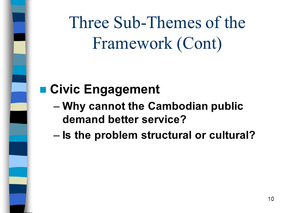 10 Three Sub-Themes of the Framework (Cont) Civic Engagement –Why cannot the Cambodian public demand better service.