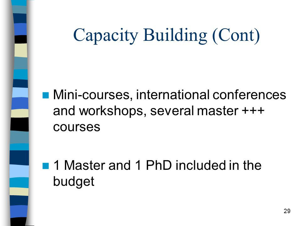 29 Capacity Building (Cont) Mini-courses, international conferences and workshops, several master +++ courses 1 Master and 1 PhD included in the budget