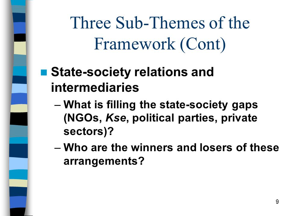 9 Three Sub-Themes of the Framework (Cont) State-society relations and intermediaries –What is filling the state-society gaps (NGOs, Kse, political parties, private sectors).