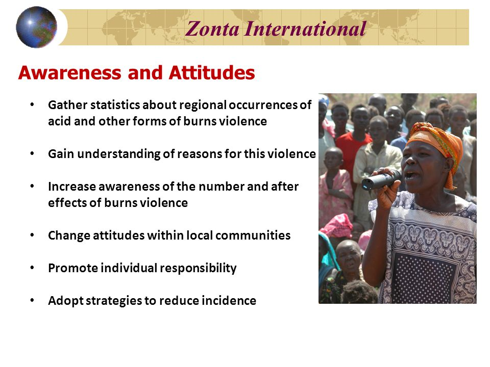 Awareness and Attitudes Gather statistics about regional occurrences of acid and other forms of burns violence Gain understanding of reasons for this violence Increase awareness of the number and after effects of burns violence Change attitudes within local communities Promote individual responsibility Adopt strategies to reduce incidence Zonta International