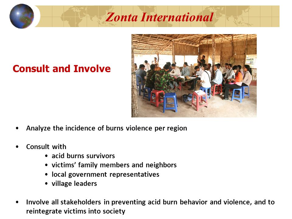 Consult and Involve Analyze the incidence of burns violence per region Consult with acid burns survivors victims' family members and neighbors local government representatives village leaders Involve all stakeholders in preventing acid burn behavior and violence, and to reintegrate victims into society Zonta International