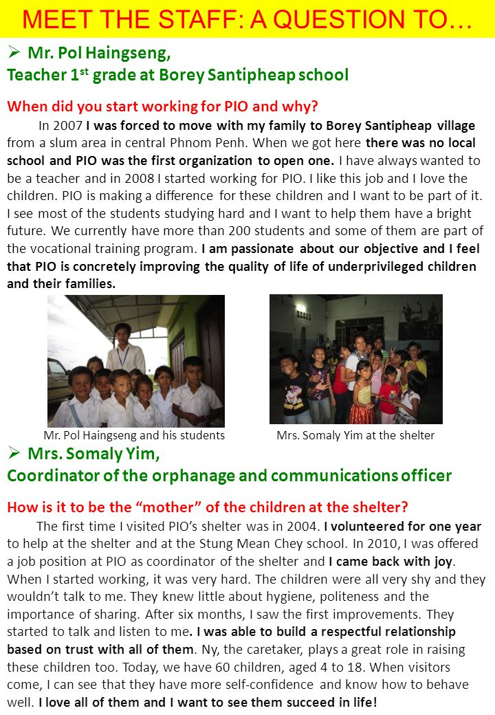 MEET THE STAFF: A QUESTION TO…  Mr.