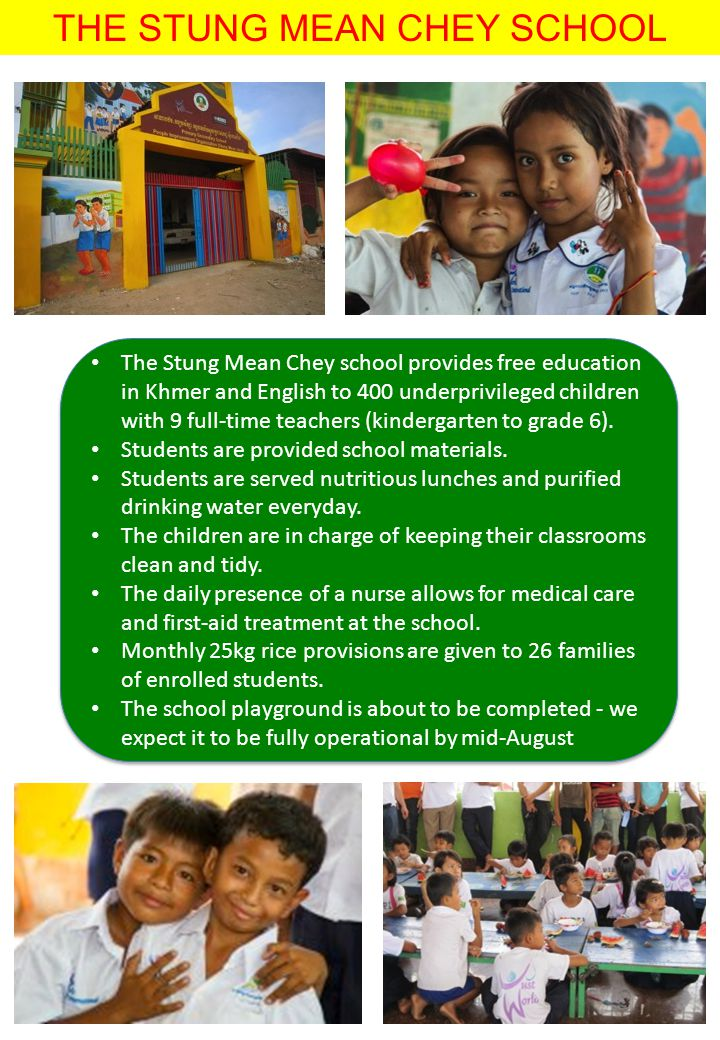 THE STUNG MEAN CHEY SCHOOL The Stung Mean Chey school provides free education in Khmer and English to 400 underprivileged children with 9 full-time te
