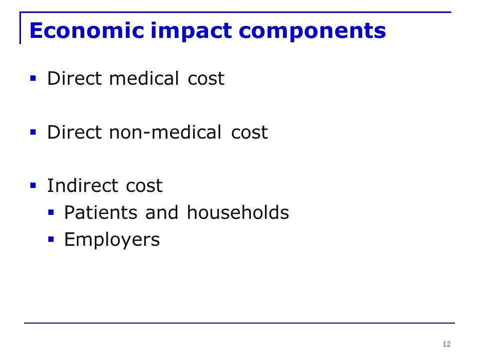 12 Economic impact components  Direct medical cost  Direct non-medical cost  Indirect cost  Patients and households  Employers