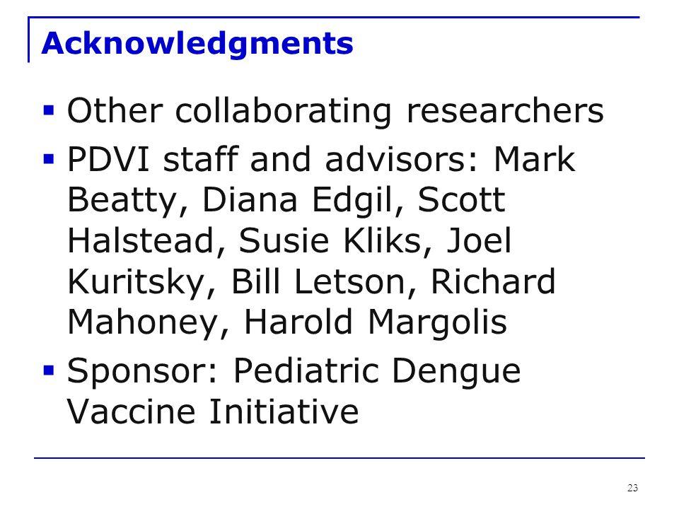 23 Acknowledgments  Other collaborating researchers  PDVI staff and advisors: Mark Beatty, Diana Edgil, Scott Halstead, Susie Kliks, Joel Kuritsky, Bill Letson, Richard Mahoney, Harold Margolis  Sponsor: Pediatric Dengue Vaccine Initiative