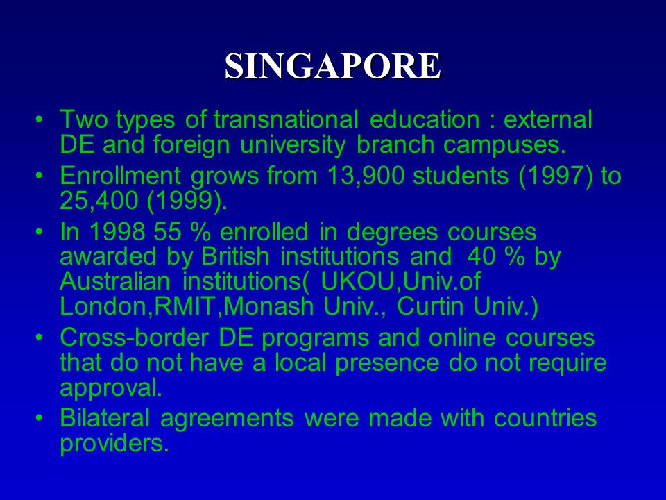 SINGAPORE Two types of transnational education : external DE and foreign university branch campuses.
