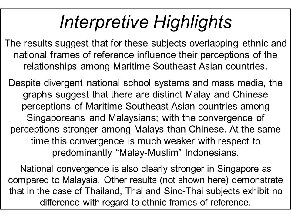 Interpretive Highlights The results suggest that for these subjects overlapping ethnic and national frames of reference influence their perceptions of