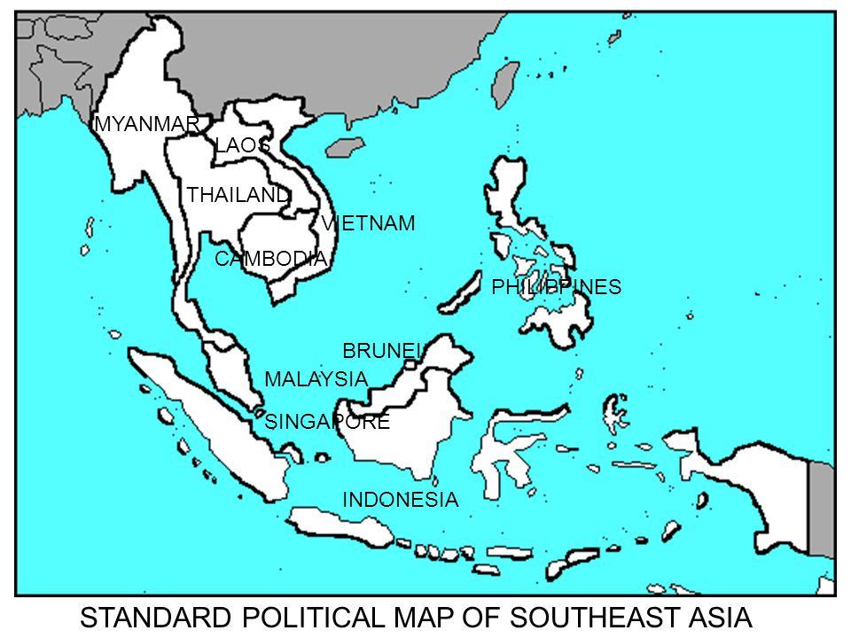 MALAYSIA BRUNEI SINGAPORE MYANMAR THAILAND CAMBODIA LAOS VIETNAM PHILIPPINES INDONESIA STANDARD POLITICAL MAP OF SOUTHEAST ASIA