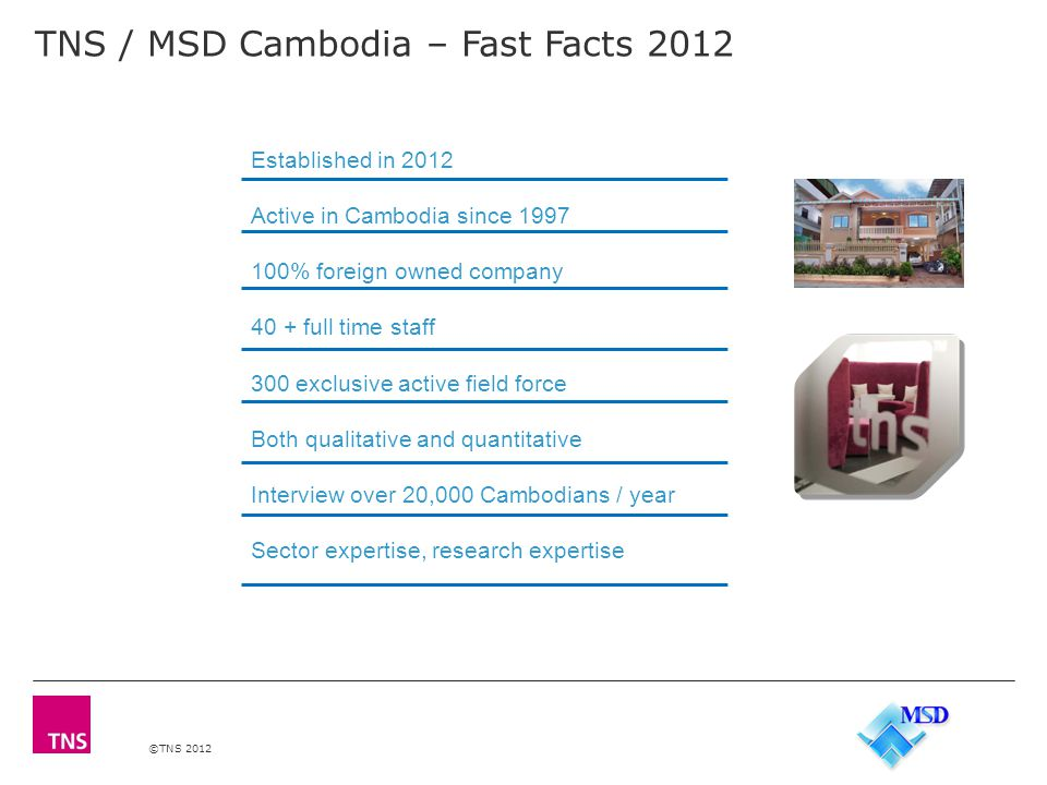 ©TNS 2012 Our fieldwork capacity & quality TNS / MSD Credentials
