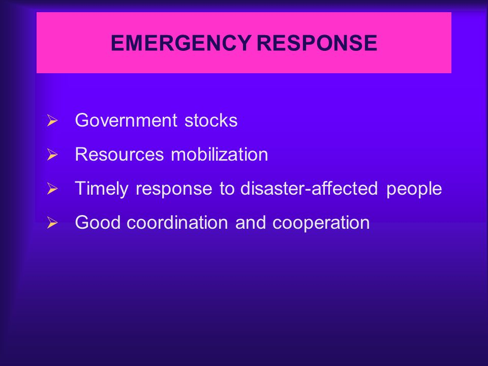 FLOOD MANAGEMENT  General policy for flood mitigation and protection  Development of meteorological and hydrological networks  Effective and efficient mechanism in relief and emergency services  Joint efforts and cooperation
