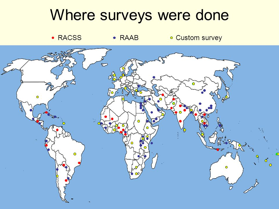 Where surveys were done RAABRACSS Custom survey