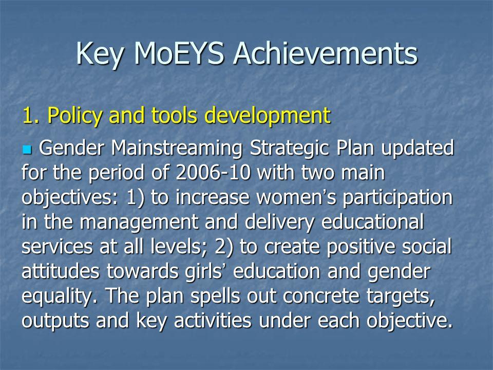 Key MoEYS Achievements 1.