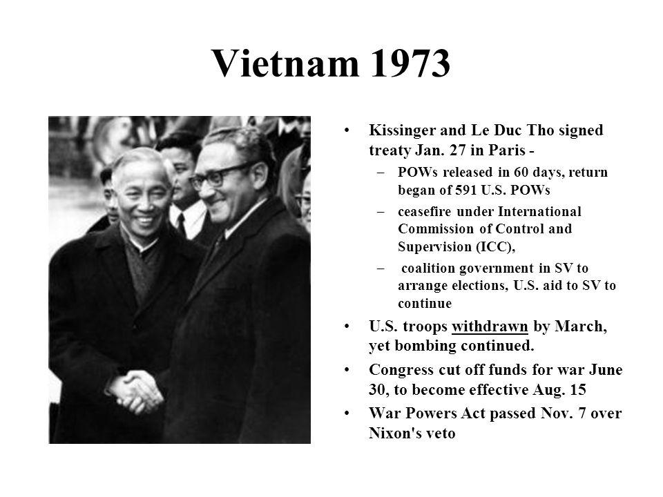Vietnam 1973 Kissinger and Le Duc Tho signed treaty Jan.