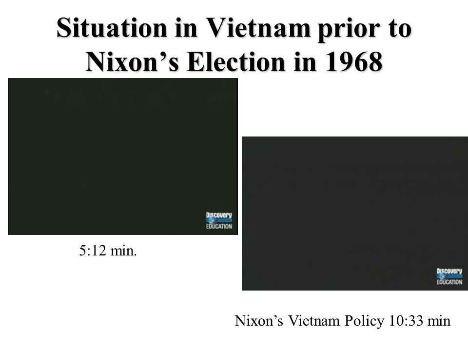 Situation in Vietnam prior to Nixon's Election in 1968 5:12 min. Nixon's Vietnam Policy 10:33 min