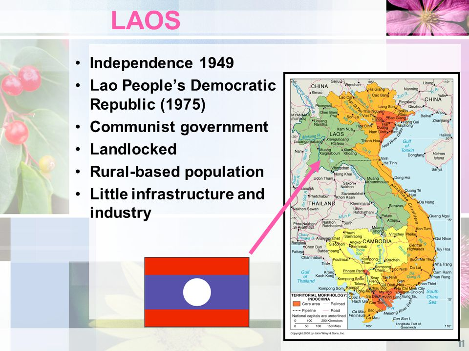 11 LAOS Independence 1949 Lao People's Democratic Republic (1975) Communist government Landlocked Rural-based population Little infrastructure and industry