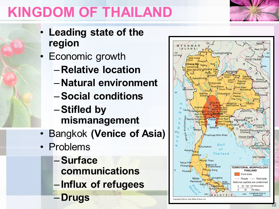 13 KINGDOM OF THAILAND Leading state of the region Economic growth –Relative location –Natural environment –Social conditions –Stifled by mismanagement Bangkok (Venice of Asia) Problems –Surface communications –Influx of refugees –Drugs