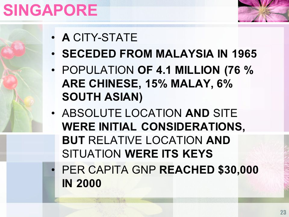 23 SINGAPORE A CITY-STATE SECEDED FROM MALAYSIA IN 1965 POPULATION OF 4.1 MILLION (76 % ARE CHINESE, 15% MALAY, 6% SOUTH ASIAN) ABSOLUTE LOCATION AND SITE WERE INITIAL CONSIDERATIONS, BUT RELATIVE LOCATION AND SITUATION WERE ITS KEYS PER CAPITA GNP REACHED $30,000 IN 2000