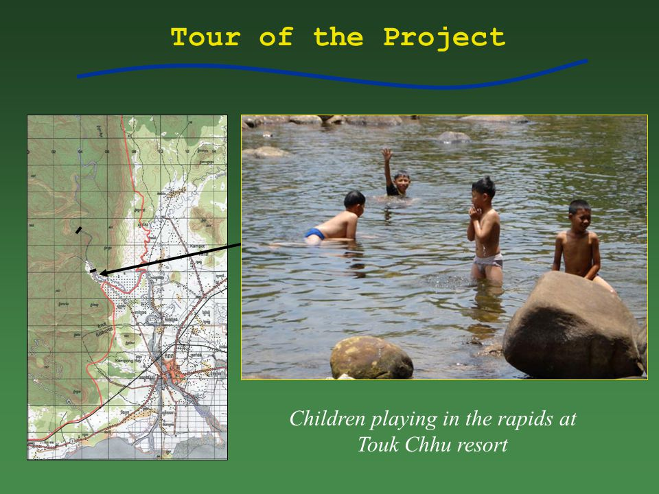 Tour of the Project Children playing in the rapids at Touk Chhu resort