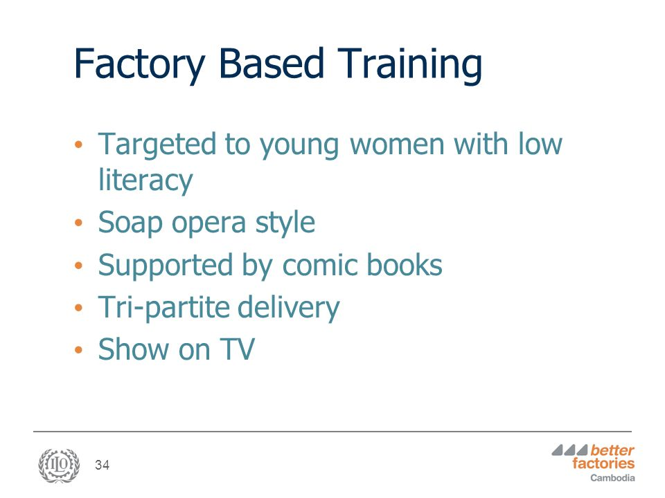 34 Factory Based Training Targeted to young women with low literacy Soap opera style Supported by comic books Tri-partite delivery Show on TV