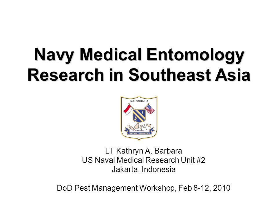 Navy Medical Entomology Research in Southeast Asia LT Kathryn A.