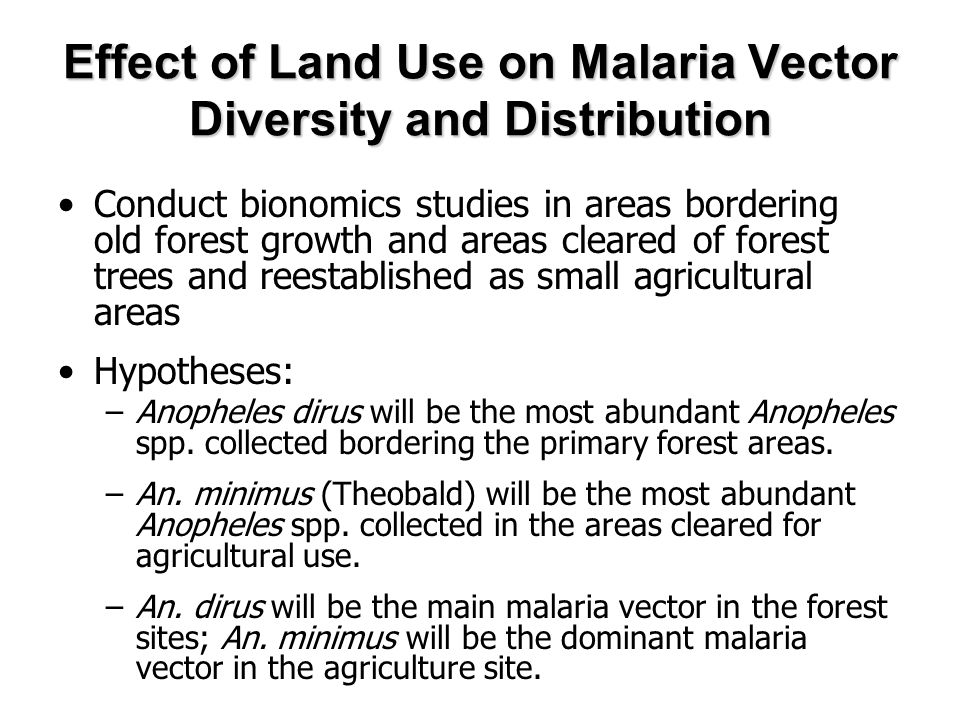 Effect of Land Use on Malaria Vector Diversity and Distribution Conduct bionomics studies in areas bordering old forest growth and areas cleared of forest trees and reestablished as small agricultural areas Hypotheses: –Anopheles dirus will be the most abundant Anopheles spp.