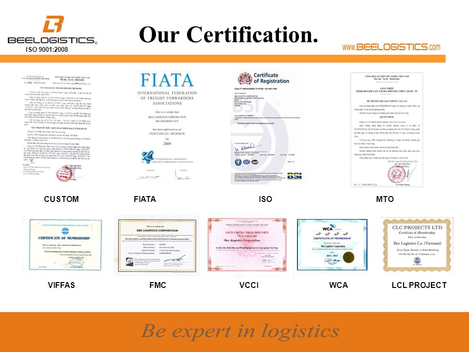 ISO 9001:2008 Historical Milestone Set up Dolphin Sea Air Services Corporation, a 100% owned by Bee Logistics Corp, specializing in LCL consolidation, sea- air combined transportation, NVOCC, SOC… Bee Logistics Corporation was founded on October 01st, 2004 in Ho Chi Minh City Set up Ha Noi and Hai Phong Branch Became exclusive agent of RMI in Vietnam for ISO tanks operation.